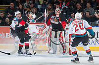 KELOWNA, CANADA - JANUARY 3: Ty Edmonds #35 of Prince George Cougars makes a save against the Kelowna Rockets on January 3, 2015 at Prospera Place in Kelowna, British Columbia, Canada.  (Photo by Marissa Baecker/Shoot the Breeze)  *** Local Caption *** Ty Edmonds;