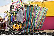 Colorful hammocks on display at the Tuesday Market in San Miguel de Allende, Guanajuato, Mexico.