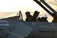 """03 NOV 2003, LAAGE/GERMANY:<br /> Pilot in einem Eurofighter EF 2000 """"Typhoon"""" hier die zweisitzigen Ausbildungsversion, neues Jagdflugzeug der Bundesluftwaffe, kurz vor dem Start, Jagdgeschwader 73 """"Steinhoff"""", Fliegerhorst Laage<br /> IMAGE: 20031103-01-079<br /> KEYWORDS: Bundeswehr, Bundesluftwaffe, Jet, Kampfflugzueg, am Boden"""