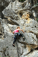 Rock climbing is a sport where participants ascend rock formations - it requires sustained use of hands and feet to support the climber's weight and balance as well as extensive knowledge of the use of specialized safety equipment.