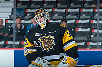 REGINA, SK - MAY 22: Kaden Fulcher #33 of Hamilton Bulldogs skates during warm up against the Acadie-Bathurst Titan at the Brandt Centre on May 22, 2018 in Regina, Canada. (Photo by Marissa Baecker/CHL Images)