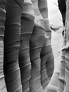 """View of the sidewall of Zebra Slot Canyon, along Harris Wash, Grand Staircase-Escalante National Monument, near Escalante, Utah. Note the """"moqui marble"""" inclusion on the wall."""