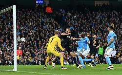 Zlatan Ibrahimovic of Paris Saint-Germain scores a goal but is ruled out for offside  - Mandatory byline: Matt McNulty/JMP - 07966386802 - 12/04/2016 - FOOTBALL - Etihad Stadium -Manchester,England - Manchester City v Paris Saint-Germain - UEFA Champions League - Quarter Final Second Leg