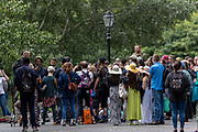 """""""Standing for Women"""" activists gathered at Speakers' Corner in Hyde Park Central London, on Sunday, July 19, 2020 -  to what they said, """"speak, shout, sing and share our experiences of being adult human females in 2020."""" (VXP Photo/ Vudi Xhymshiti)"""