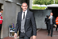 Paul Clement, manager  of Swansea city arrives off the team coach ahead of the game. Premier league match, Swansea city v Manchester Utd at the Liberty Stadium in Swansea, South Wales on Saturday 19th August 2017.<br /> pic by  Andrew Orchard, Andrew Orchard sports photography.