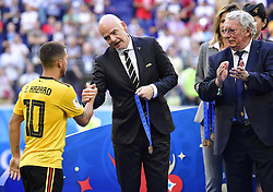 July 14, 2018 - Saint Petersbourg, Russie - SAINT PETERSBURG, RUSSIA - JULY 14 : Eden Hazard midfielder of Belgium, FIFA President Gianni Infantino., President of the Royal Belgian Football Association Gerard Linard  during the FIFA 2018 World Cup Russia Play-off for third place match between Belgium and England at the Saint Petersburg Stadium on July 14, 2018 in Saint Petersburg, Russia, 14/07/18 (Credit Image: © Panoramic via ZUMA Press)