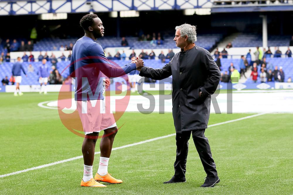 Everton's Romelu Lukaku shakes hands with former manager Jose Mourinho before the game  - Mandatory byline: Matt McNulty/JMP - 07966386802 - 12/09/2015 - FOOTBALL - Goodison Park -Everton,England - Everton v Chelsea - Barclays Premier League