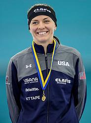 11-12-2016 NED: ISU World Cup Speed Skating, Heerenveen<br /> Heather Bergsma USA pakt goud op de 1000 meter