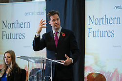 © Licensed to London News Pictures . 06/11/2014 . Leeds , UK . The Deputy Prime Minister , NICK CLEGG , addresses the Northern Futures Summit in Leeds this morning (Thursday 6th November 2014) .  . Photo credit : Joel Goodman/LNP