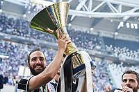 Gonzalo Higuain with the trophy <br /> Esultanza Juventus Campione d'Italia . Celebration Juventus Italian championship winner <br /> Torino 21-05-2017 Juventus Stadium Football Calcio Serie A 2016/2017 Juventus - Crotone .<br /> Foto Insidefoto