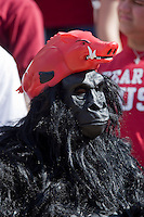 FAYETTEVILLE, AR - NOVEMBER 1:   Gorilla in a Hog Hat fan of the Arkansas Razorbacks watches the game against the Tulsa Golden Hurricanes at Donald W. Reynolds Stadium on November 1, 2008 in Fayetteville, Arkansas.  The Razorbacks defeated the Golden Hurricanes 30 to 23.  (Photo by Wesley Hitt/Getty Images) *** Local Caption *** University of Arkansas Razorback Men's and Women's athletes action photos during the 2008-2009 season in Fayetteville, Arkansas....©Wesley Hitt.All Rights Reserved.501-258-0920.