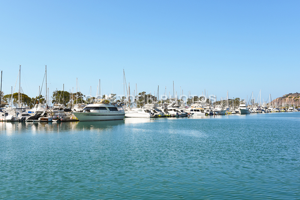 Dana Point Harbor Channel With Boats Docked in Their Slips