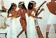 Female dancer and musicians, tomb of Nakht at Luxor (Thebes) c1420 BC.