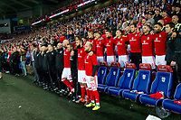 Football - 2017 / 2018 _Wales v Austria_FIFA World Cup Qualifier 2018<br /> <br /> Wales manager Chris Coleman & his coaching  team sing the anthems  before the game --- at Cardiff City Stadium.<br /> <br /> COLORSPORT/WINSTON BYNORTH