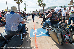 Biker rodeo on the Seawall during the Lone Star Rally. Galveston, TX. USA. Friday November 3, 2017. Photography ©2017 Michael Lichter.