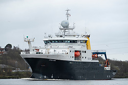 RRS James Cook sailing downstream on River Clyde . RRS James Cook is a British Royal Research Ship operated by the Natural Environment Research Council (NERC)