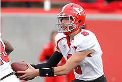08 November 2014: Hunter Wells (QB) during an NCAA Missouri Valley Football Conference game between the Youngstown State Penguins and the Illinois State Redbirds at Hancock Stadium in Normal Illinois