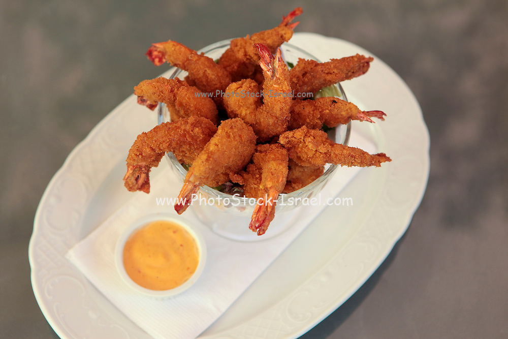 deep fried breaded shrimps served with a dip