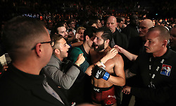 Jorge Masvidal celebrates knocking out Darren Till in their Welterweight bout during UFC Fight Night 147 at The O2 Arena, London.