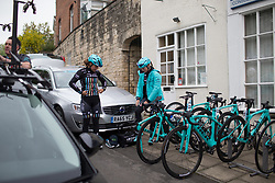 Abby-Mae Parkinson (GBR) and Alice Barnes (GBR) of Drops Cycling Team prepare for the Tour de Yorkshire - a 122.5 km road race, between Tadcaster and Harrogate on April 29, 2017, in Yorkshire, United Kingdom.