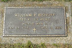 31 August 2017:   Veterans graves in Park Hill Cemetery in eastern McLean County.<br /> <br /> William P Bishoff  TEC4 US Army World War II Jan 16 1913  Apr 2 1993