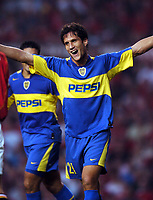 Matias Silvestre celebrates scoring goal<br />Boca Juniors 2004/05<br />Boca Juniors v Urawa Red Diamonds<br />The Vodafone Cup 03/08/04<br />Photo Robin Parker Fotosports International