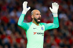 Chelsea goalkeeper Willy Caballero gives instructions during the Carabao Cup, Third Round match at Anfield, Liverpool.