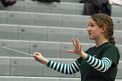 21 February 2015:  pep band conductor during an NCAA women's division 3 CCIW basketball game between the Elmhurst Bluejays and the Illinois Wesleyan Titans in Shirk Center, Bloomington IL