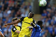 Lucas Akins of Burton Albion (c) in action. Carabao Cup 2nd round match, Cardiff city v Burton Albion at the Cardiff City Stadium in Cardiff, South Wales on Tuesday 22nd August  2017.<br /> pic by Andrew Orchard, Andrew Orchard sports photography.