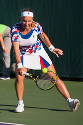 March 22, 2018 - Key Biscayne, FL, U.S. - KEY BISCAYNE, FL - MARCH 22: Svetlana Kuznetsova (RUS) in action on Day 4 of the Miami Open on March 22, 2018, at Crandon Park Tennis Center in Key Biscayne, FL. (Photo by Aaron Gilbert/Icon Sportswire) (Credit Image: © Aaron Gilbert/Icon SMI via ZUMA Press)