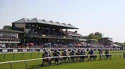 General view of the Agetur Conditional Jockeys' Handicap Hurdle during Kids Carnival Day of The Qatar Airways May Racing Carnival at Warwick Racecourse.