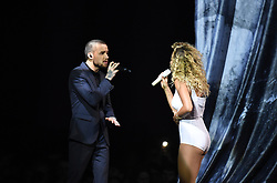 Zayn Malik and Rita Ora perform on stage during the 2018 BRIT Awards show, held at the O2 Arena, London. EDITORIAL USE ONLY.