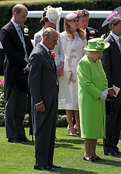 Prince Philip and Queen Elizabeth observe a minute's silence in honour of the recent tragedies in the United Kingdom during day one of Royal Ascot at Ascot Racecourse.