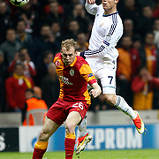 Galatasaray's Semih Kaya (L) and Real Madrid's Cristiano Ronaldo (R) during their UEFA Champions League Quarter-finals, Second leg match Galatasaray between Real Madrid at the TT Arena AliSamiYen Spor Kompleksi in Istanbul, Turkey on Tuesday 09 April 2013. Photo by Aykut AKICI/TURKPIX