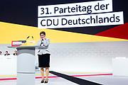 Annegret Kramp Karrenbauer  beim 31. Bundesparteitag der CDU in Hamburg, Deutschland, 7. Dezember 2018
