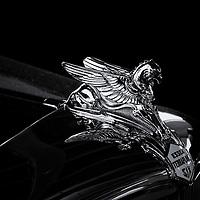 """Essex Terraplane Six""<br /> <br /> An Essex Terraplane Six hood ornament in black and white."