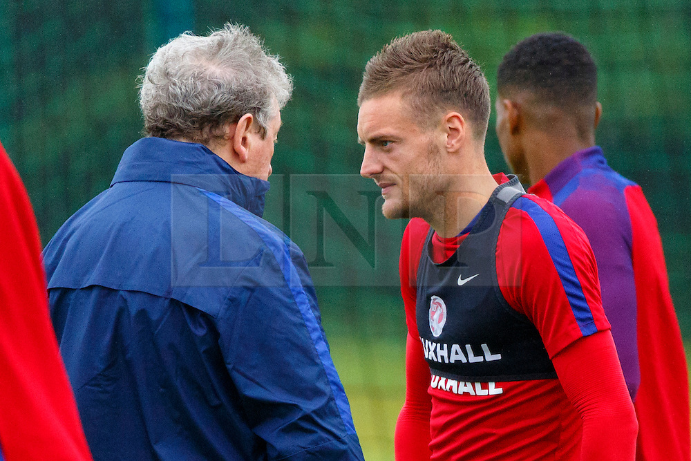 © Licensed to London News Pictures. 01/06/2016. London, UK. England's manager Roy Hodgson and JAMES VARDY speaking whilst England team train at Watford Training Ground on Wednesday, 1 June 2016, ahead of the Euro 2016 in France. Photo credit: Tolga Akmen/LNP