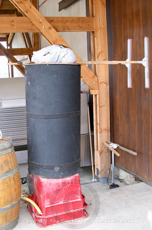 Tank to prepare biodynamic infusions. Domaine Gauby, Calces, roussillon, France