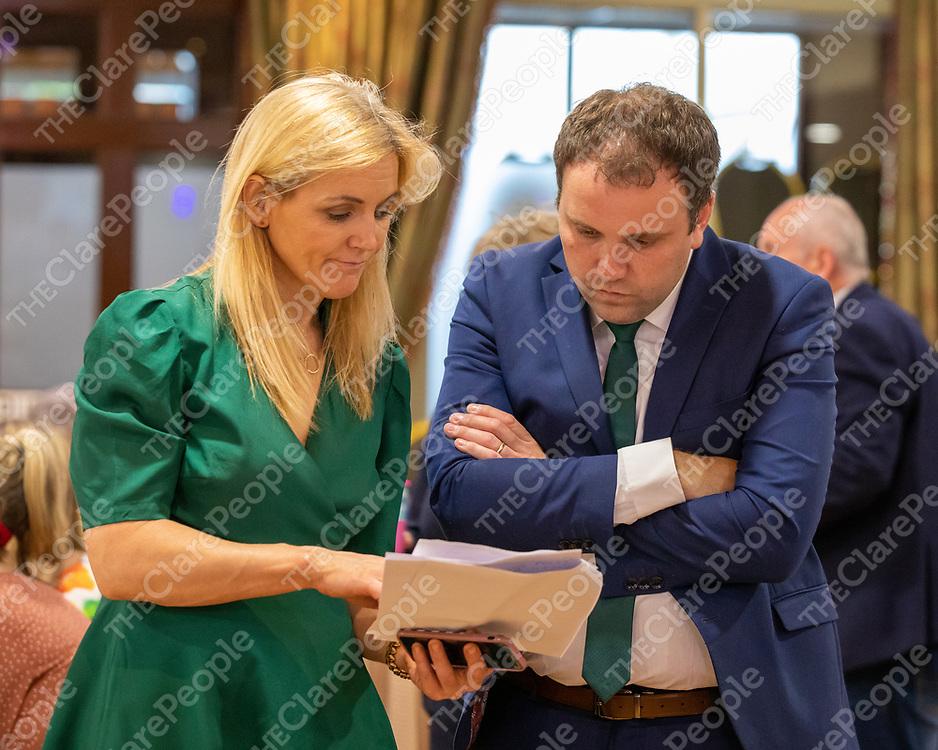 Rita McInerney talking to Cathal Crowe