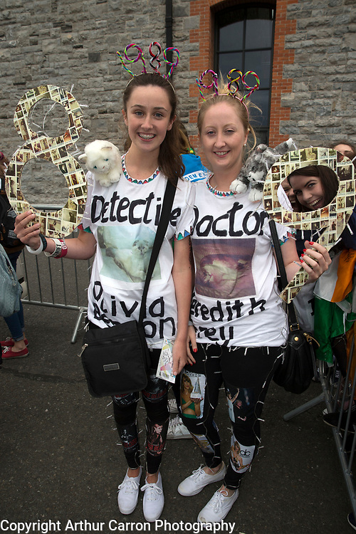 29/6/15 Taylor Swift fans Nessa and Sinead Kellegher, Leitrim, on the way to the concert in the 3 Arena in Dublin. Picture: Arthur Carron