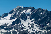Rob Roy Peak seen from Cascade Saddle, in Mount Aspiring National Park, Otago region, South Island of New Zealand. Cascade Saddle is a spectacular 20-kilometer side trip from Dart Hut on the Rees-Dart Track.