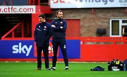 Walsall manager Darrell Clarke and Brian Dutton of Walsall prior to kick off - Mandatory by-line: Nizaam Jones/JMP - 21/11/2020 - FOOTBALL - Jonny-Rocks Stadium - Cheltenham, England - Cheltenham Town v Walsall - Sky Bet League Two