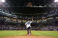 PHOENIX, AZ - JUNE 28: Diana Taurasi of the Phoenix Mercury throws out the ceremonial first pitch. (Photo by Sarah Sachs/Arizona Diamondbacks)