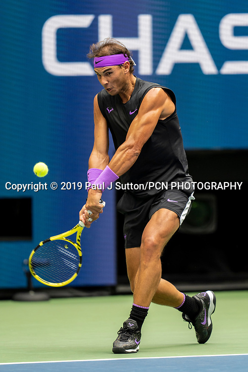 Rafael Nadal of Spain competing in the finals of the Men's Singles at the 2019 US Open Tennis