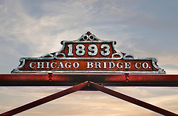 The 1893 Chicago Bridge Company sign above the Coffee Street Bridge in Lanesboro Minnesota