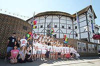 Group photocall with 100-strong children's choir and cast from West End shows including Jersey Boys, Matilda The Musical, Mamma Mia!, Les Misérables, and We Will Rock You , Shakespeare's Globe, London UK, 01 August 2013, (Photo by Richard Goldschmidt)