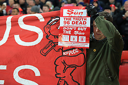 11th February 2017 - Premier League - Liverpool v Tottenham Hotspur - A Liverpool fan displays a banner reading 'Don't Buy The Sun' newspaper - Photo: Simon Stacpoole / Offside.