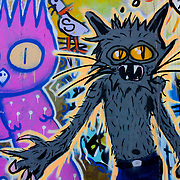 Graffiti with owl and cat, London, England (September 2007)