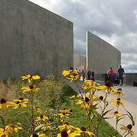 Visitors to the Flight 93 Memorial walks the flight path of United Flight 93 to the overlook for a view of the crash site and the Wall of Names on the 15th anniversary of  the the crash of the flight on September 11, 2016.  Photo by Archie Carpenter/UPI