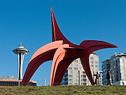"""""""Eagle"""" 1971 painted steel by Alexander Calder (1898-1976), at Seattle Art Museum's Olympic Sculpture Park, 2901 Western Avenue, Seattle, Washington 98121. The Space Needle rises in background."""
